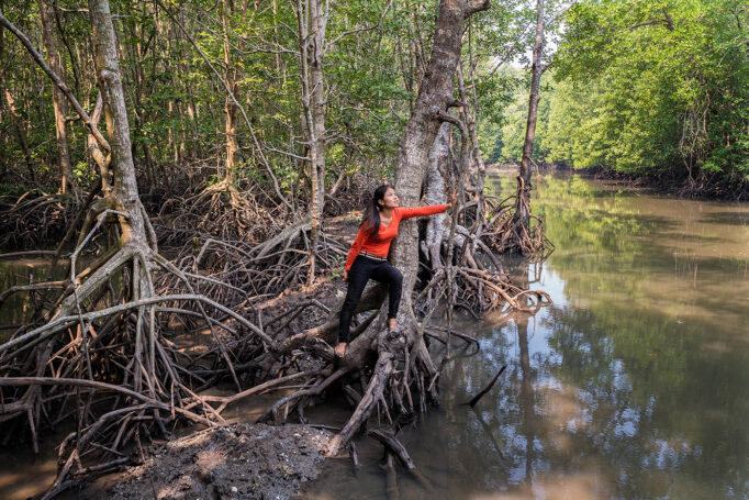 A woman in a vivid orange shirt holds an arm across a mangrove tree, as she looks out across a mangrove forest.