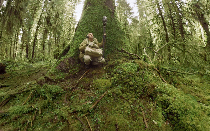 Audiologist Gordon Hempton squats at the base of a moss-covered tree in the Hoh Rain Forest, holding a microphone and listening through headphones.