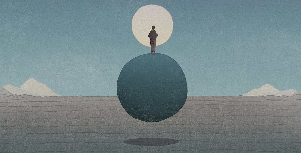 An illustrated man stands on a rock floating above a flat landscape facing a pale moon and distant foothills.
