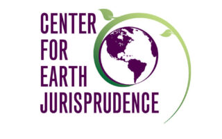 The logo for Center for Earth Jurisprudence, which shows an outline of the Earth rendered in purple embraced by a spiraling green leaf.