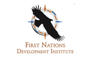 A logo illustration of an eagle soaring across a circle with the four directions, over the words First Nations Development Institute.