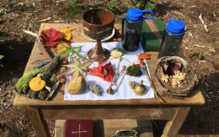Church of the Woods outside altar comprised of natural items found on the church's 106 acre property.