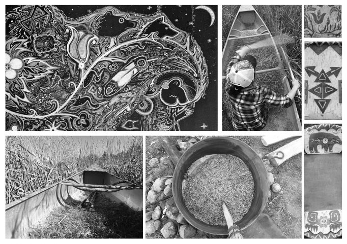 Photos of birch bark basketry, Ojibwe art, and harvesting Manoomin (wild rice).