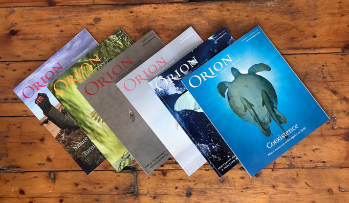 Print copies of Orion Magazine are arranged on a wooden table.
