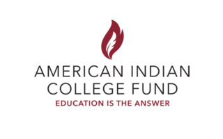 "Logo with a maroon-colored flame rising above the words ""American Indian College Fund: Education Is the Answer."""