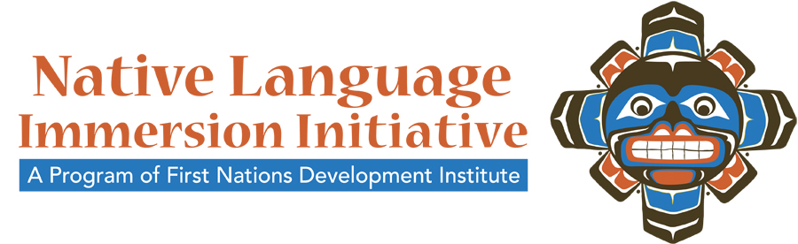 "A logo illustration of a carved mask is situated to the right of the words ""Native Language Immersion Initiative: A Program of First Nations Development Institute."""