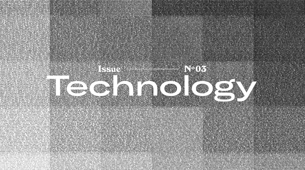 "The word ""Technology"" is overlaid across a series of squares in shades of grey, white, and black."