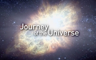 "An image of a supernova with the words ""Journey of the Universe."""