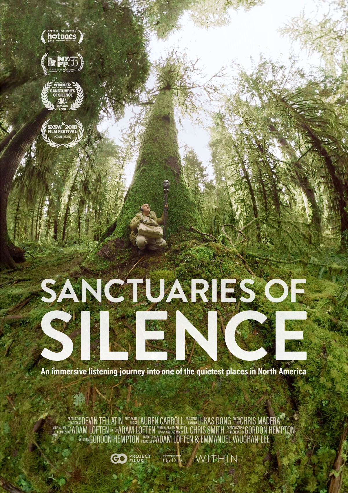 Poster for the film Sanctuaries of Silence. Features a man sitting in the woods at the bottom of the tree surrounded by green moss recording sounds of nature.