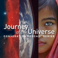 Podcast logo of the universe, a planet, and a woman's face.