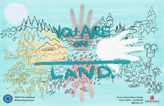 An illustration with four hands facing the in the four directions with an acknowledgment of Indigenous land..