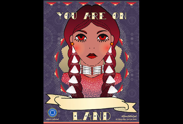 Honor Native Land poster with illustration of Indigenous woman.