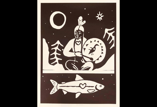Onaman Collective art depicting man sitting near river with a fish swimming below.