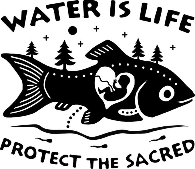 """Water Is Life"" art print with illustrated fish in a forest."