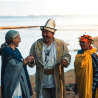 Dr. Apela Colorado of the World Indigenous Science Network meets with Zhaparkul Raimbekov, a snow leopard shaman from Kyrgystan, and Lys Kruper, an elder with the Khomani San Bushmen of South Africa, during a gathering of indigenous elders on the Hawaiian iisland of Kaua`i, Nov 2, 2017.