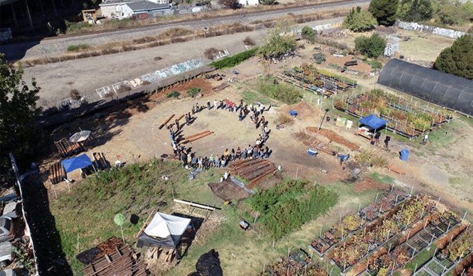 Arial view of Ohlone land in Oakland, California.