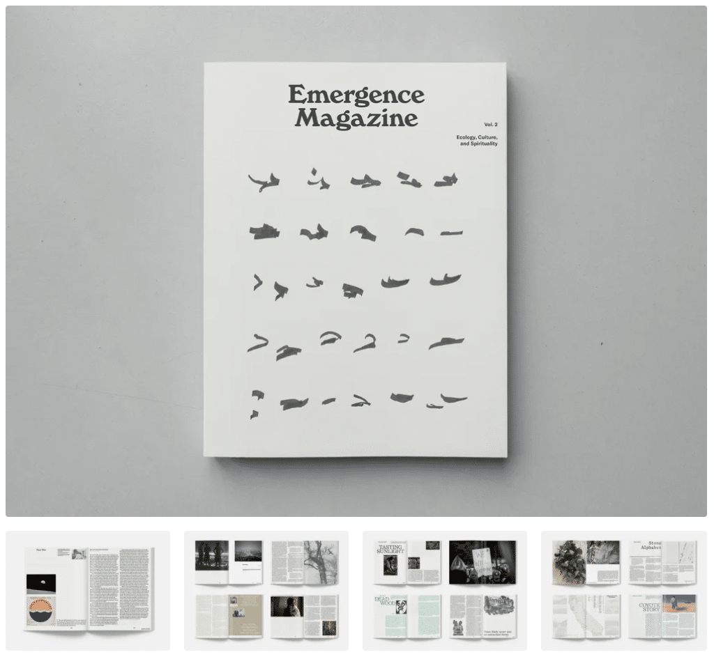 A peak inside Emergence Magazine Volume Two, showing several page spreads.